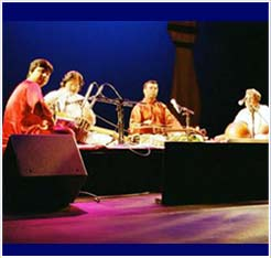 Performing with Vishwa Mohan Bhatt in Phoenix in 2002.