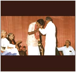 Being felicitated in the presence of M S Subbulakshmi and Sadashivam.